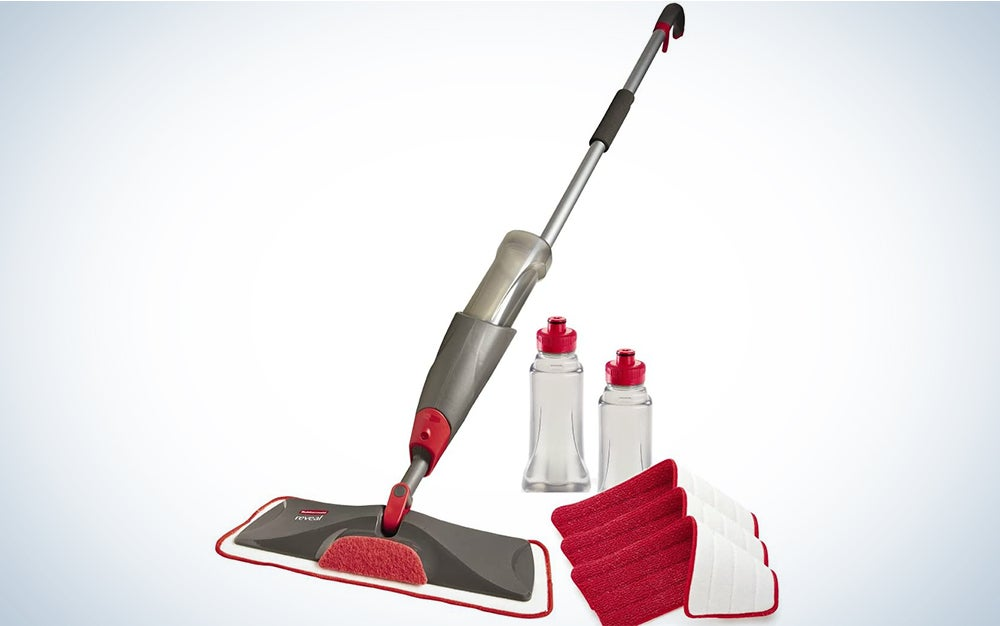 Rubbermaid Reveal Spray Mop Floor Cleaning Kit, Bundles: 1 Mop, 3 Multi Surface Microfiber Wet Mopping Pads, 2 Refillable Bottles (1892663)