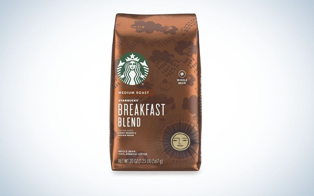 A brown package with the logo of Starbucks into the box.