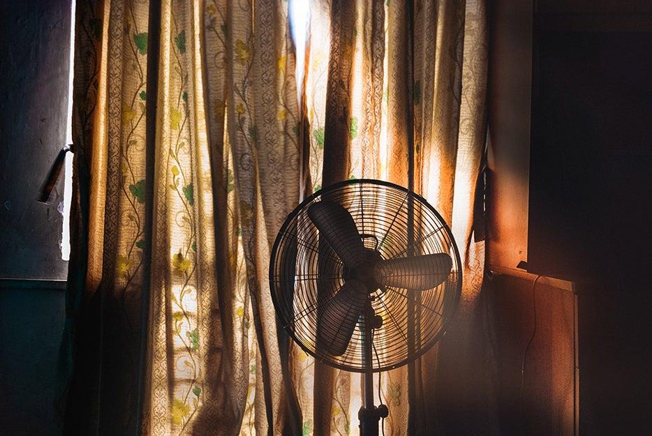 fan in a shady room