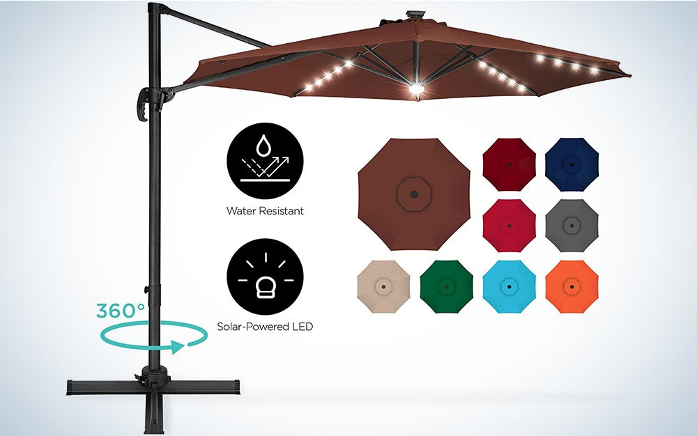 Best Choice Products 10ft 360-Degree LED Cantilever Offset Hanging Market Patio Umbrella w/Easy Tilt