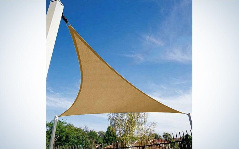 Shade&Beyond 12′ x 12′ x 12′ Sun Shade Sail Triangle for Patio Yard Deck Pergola Outdoor Sun Sail Shade UV Block Sunshade Sand Color