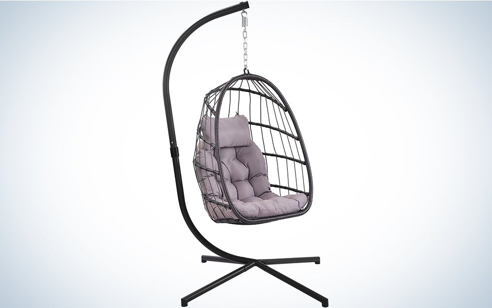 Patio Hanging Egg Chair with Stand Swing