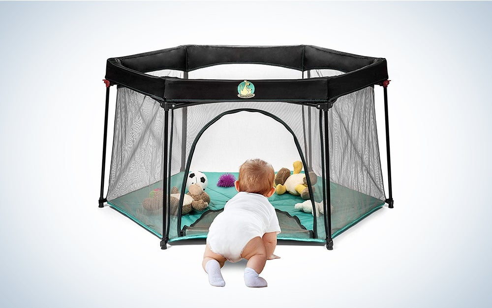 BABYSEATER Portable Playard Play Pen with Carrying Case for Infants and Babies