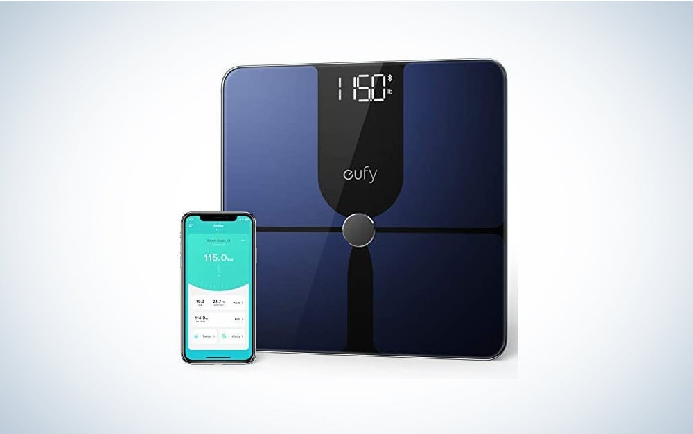 eufy Smart Scale P1 with Bluetooth, Body Fat Scale, Wireless Digital Bathroom Scale, 14 Measurements, Weight/Body Fat/BMI, Fitness Body Composition Analysis, Black/White, lbs/kg