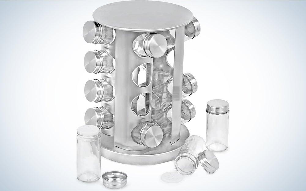 Revolving Spice Tower - Round Spice Rack - Set of 16 Spice Jars - Seasoning Storage Organization