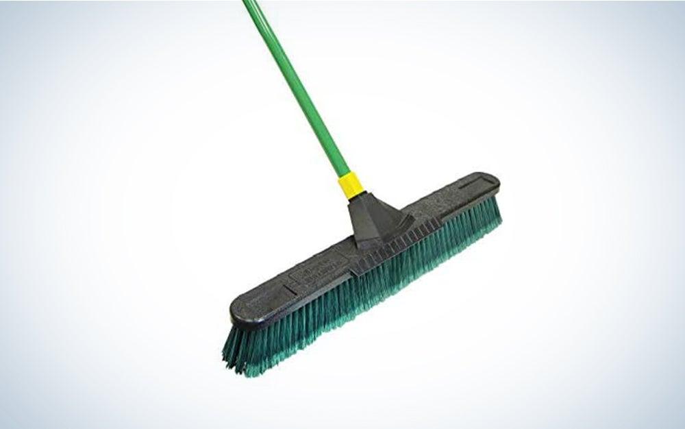 Quickie Bulldozer 24-Inch Multi-Surface Push Broom, Green - with Scraper