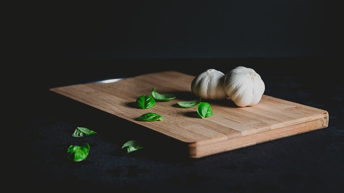 garlic on a cutting board