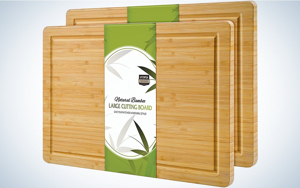 Utopia Kitchen (Pack of 2) Extra Large Bamboo Cutting Board (17 x 12 inch) - Large Cutting Boards for Meat and Chopping Vegetables