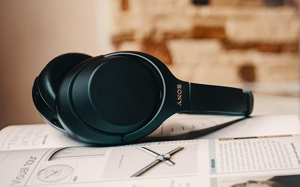 headphones on a notebook