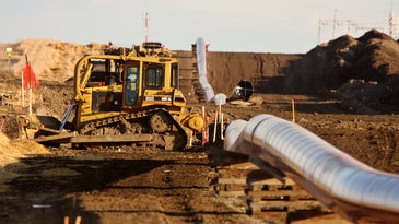 A gas pipeline under construction