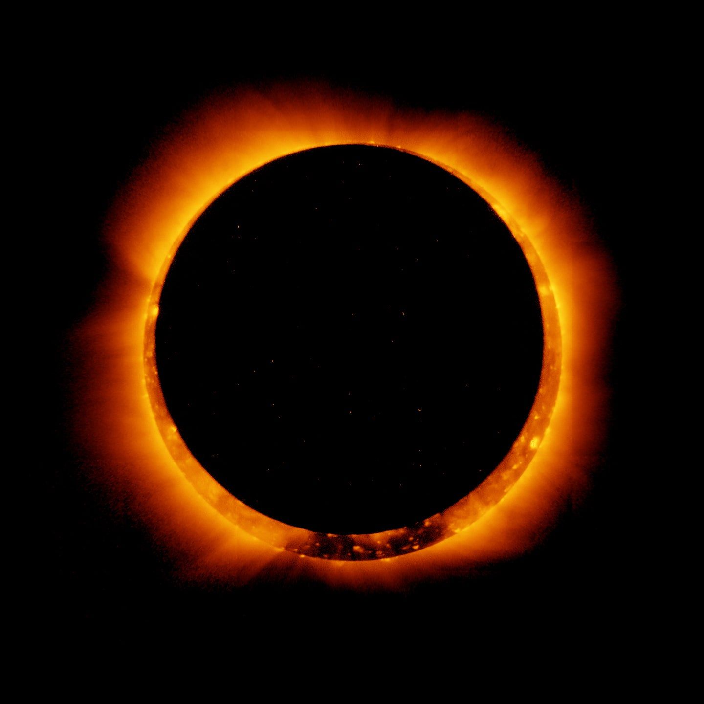 On January 4, 2011, the Hinode satellite captured these breathtaking images of an annular solar eclipse.