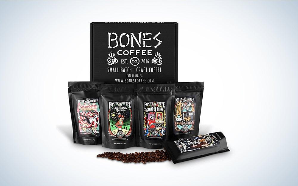 Bones Coffee Favorite Flavors Sample Pack, Flavored Whole Bean Coffee Sampler Gift Box Set, Pack of 5 Assorted Flavored Coffee Beans (Whole Bean)