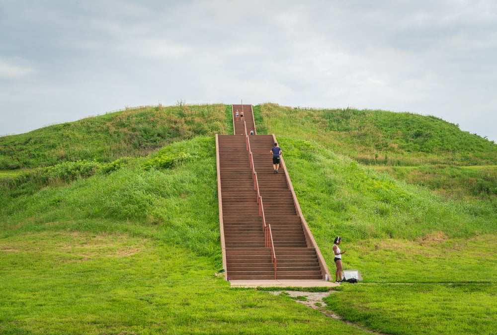 The Cahokia Mounds in Collinsville, Illinois, mark the site of one of the biggest pre-Colombian civilizations in the US.