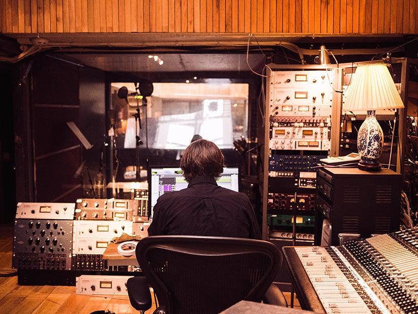 person in a recording studio