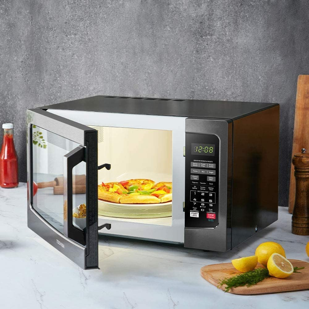toshiba microwave with food in it