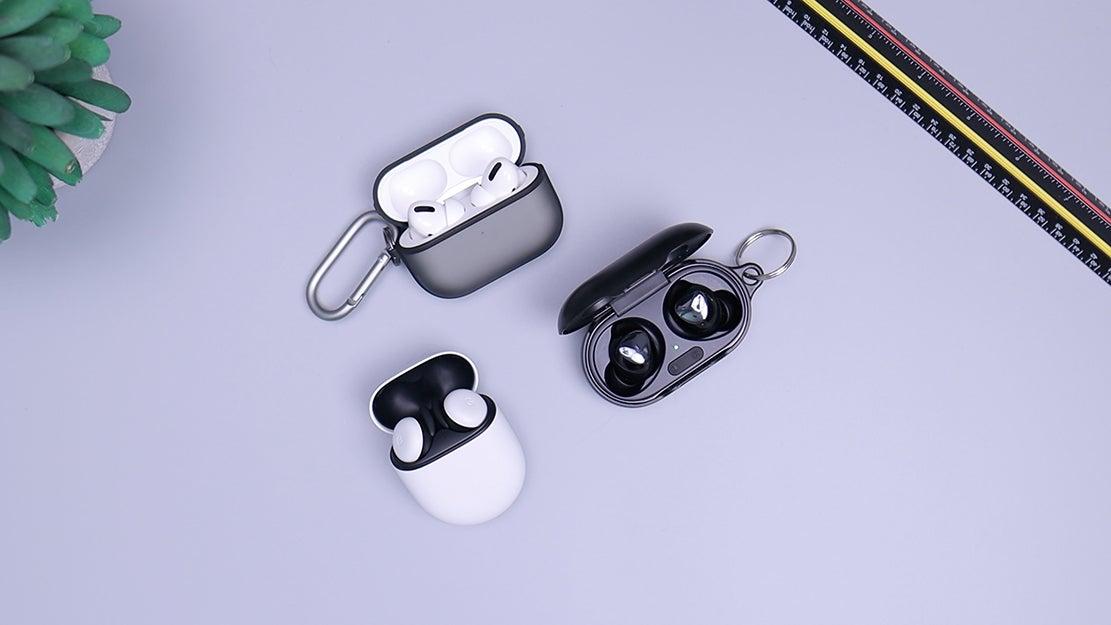 in-ear headphones on a table