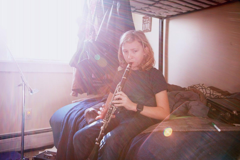 woman playing clarinet