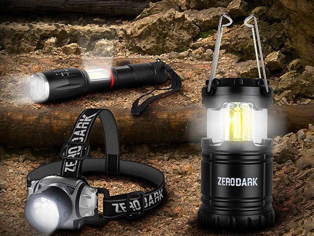 ZeroDark 3-Piece Tactical Set: Flashlight, Lantern & Headlamp