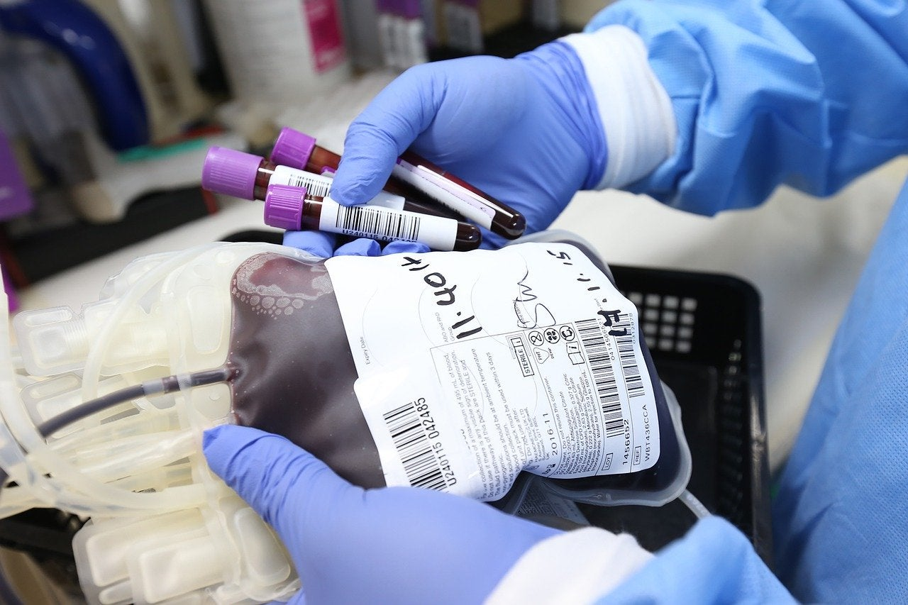 A bag and vials of donated blood