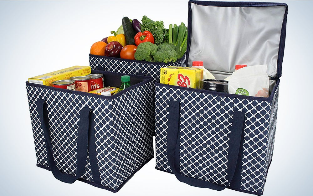 1 Zippered Insulated Grocery Bag + 2 Open Reusable Shopping Bags Heavy Duty, Thick Reinforced Bottoms, Grocery Bags Reusable Foldable
