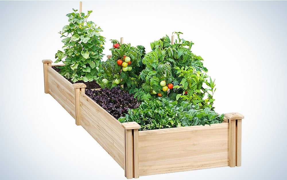 Yaheetech Wood Raised Garden Bed Boxes Kit Elevated Flower Bed Planter Box for Vegetables Natural Wood