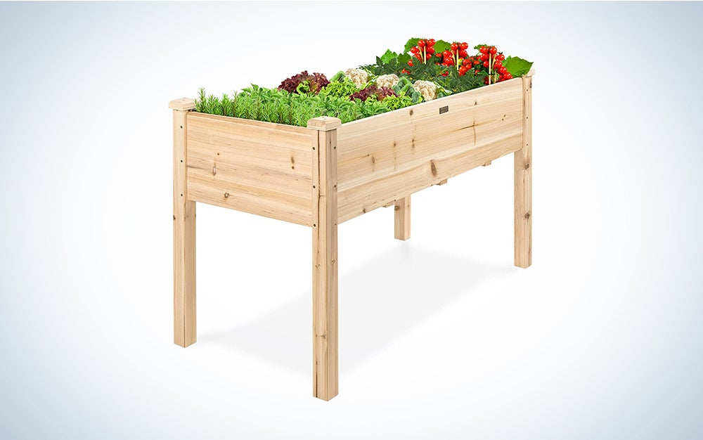 Best Choice Products Raised Garden Bed 48x24x30-inch Elevated Wood Planter Box Stand for Backyard