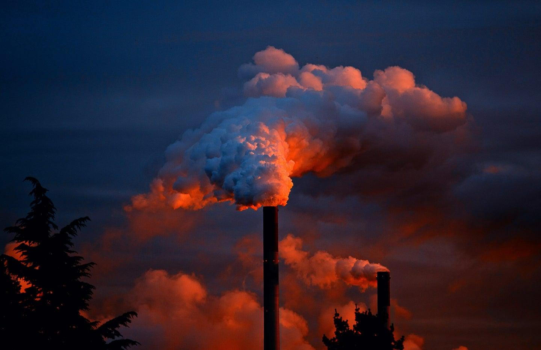 Smoke during sunset.