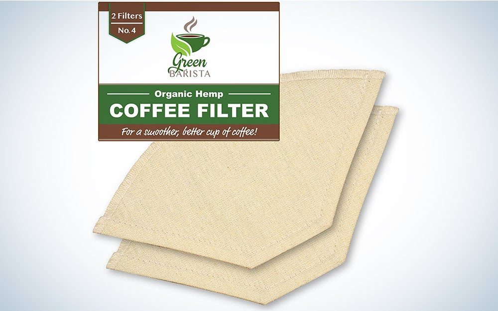 Reusable Pour Over Coffee Filter No 4 - Cone Coffee Filters for Drip Coffee Makers - Organic Hemp Cloth Strainer for Making a Smooth Delicious Cup of Coffee
