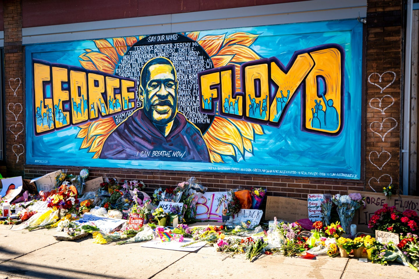 A mural in Minneapolis, Minnesota, commemorates George Floyd, who was killed while being restrained by city police officers in May.
