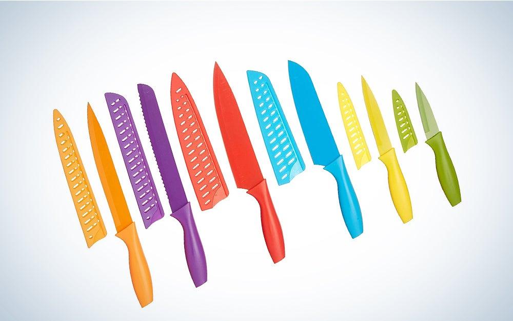 Amazon Basics 12-Piece Colored Kitchen Knife Set