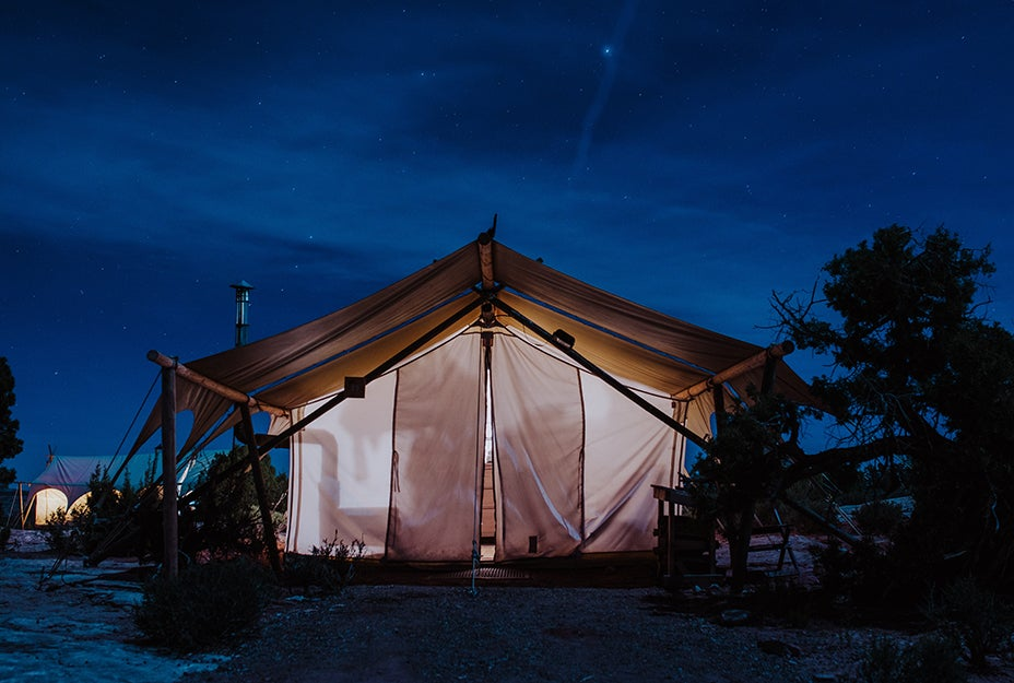 large tent with lights inside