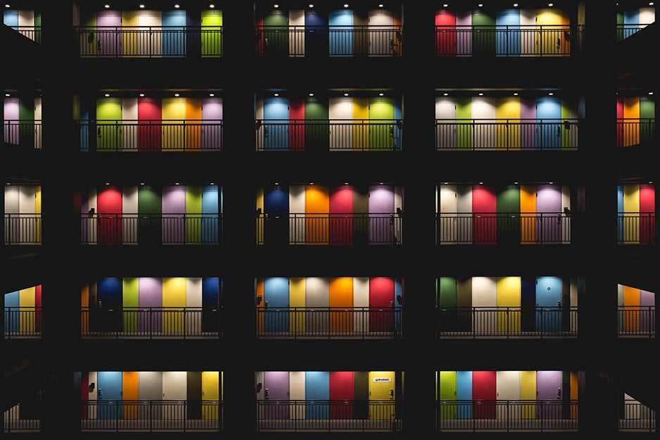 tons of colorful doors