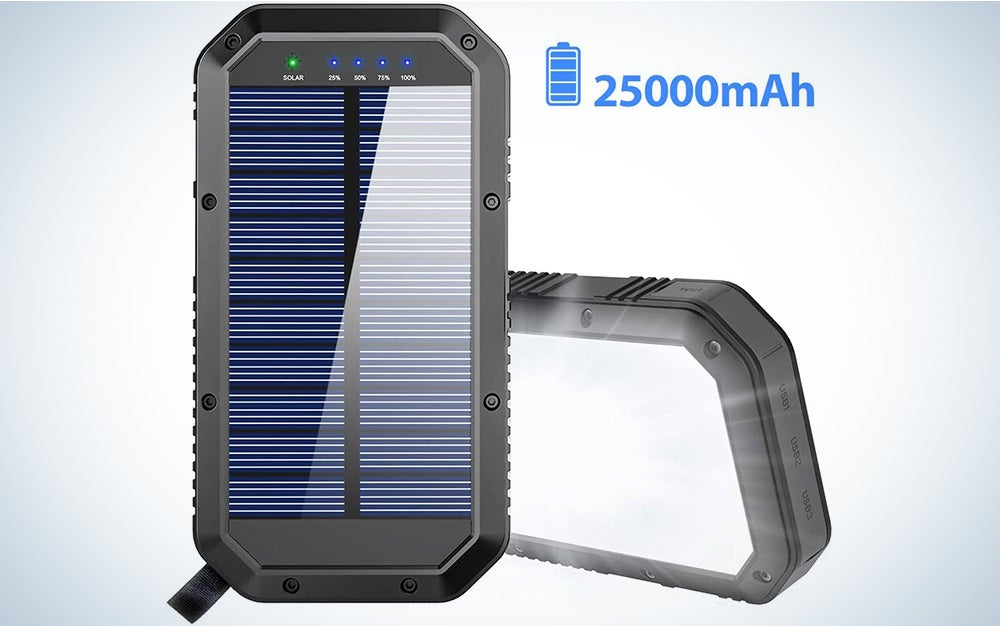 Yelomin 20000mAh Portable Outdoor Mobile Charger Solar Power Bank