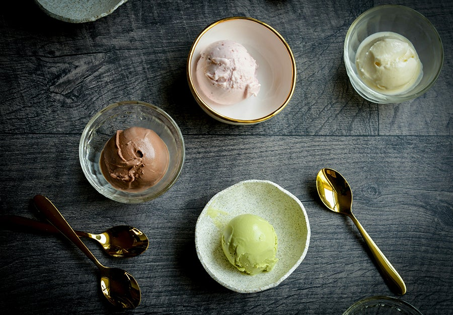 ice cream in bowls on a table