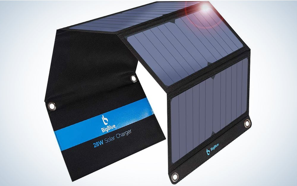 BigBlue 3 USB Ports 28W Solar Charger(5V/4.8A Max), Foldable Portable Solar Phone Charger with SunPower Solar Panel Compatible with iPhone 11/Xs/XS Max/XR/X/8/7, iPad, Samsung Galaxy LG etc
