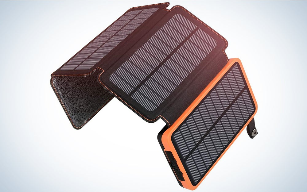 Solar Charger 25000mAh ADDTOP Rainproof Power Bank with 4 Solar Panels Portable Battery Pack for iPhone, iPad, Samsung and Smartphone