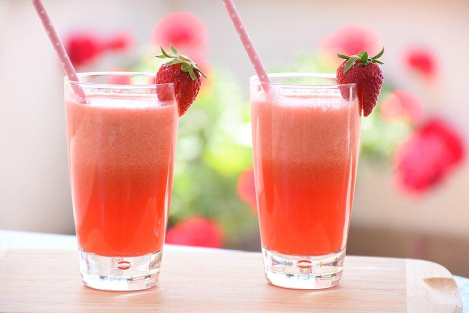 two glasses of strawberry lemonade