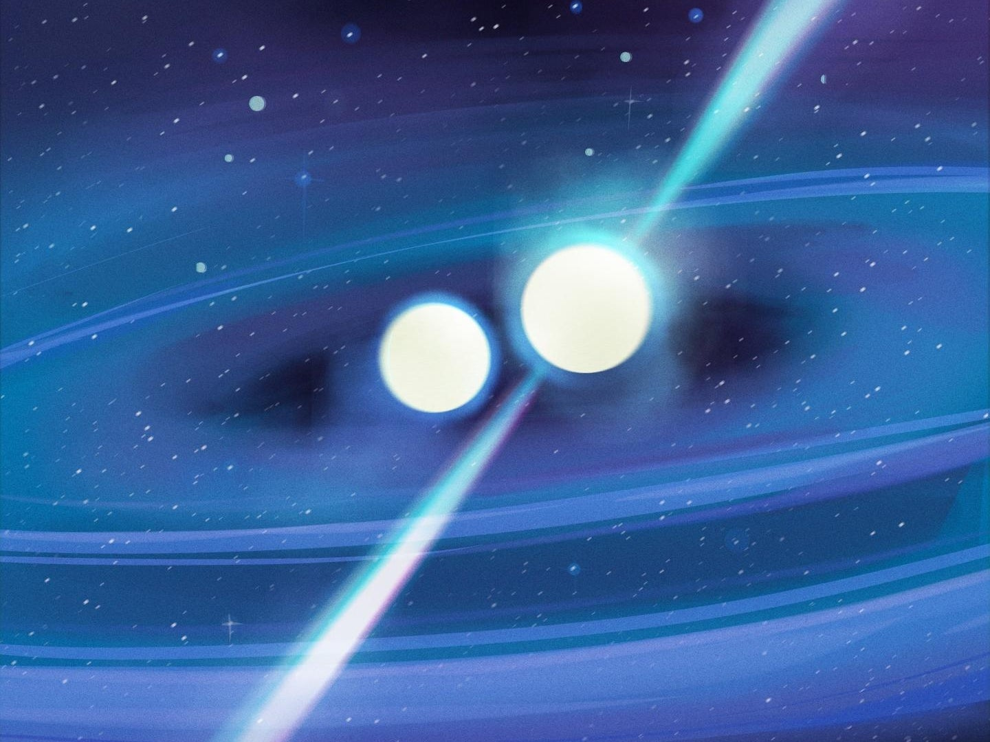 An illustration of a lopsided binary star system.