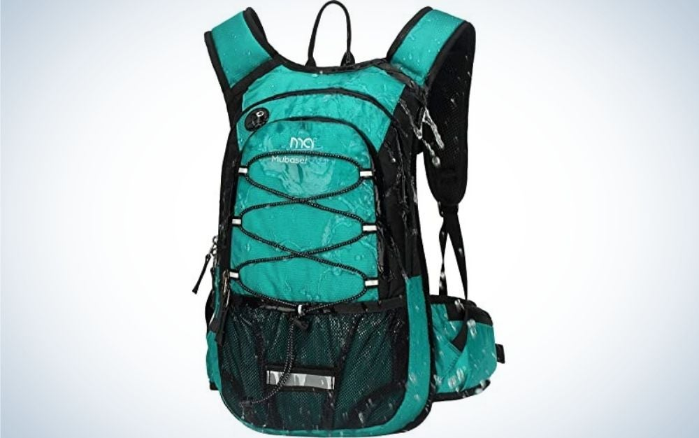A bag that is carried on the back with two arms and in light blue and black color and with some laces on its front part.