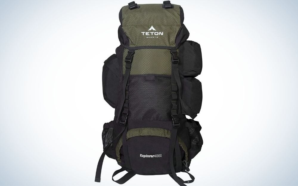 A bag that is carried on the back with two arms and in black color and with some large pockets on the side.