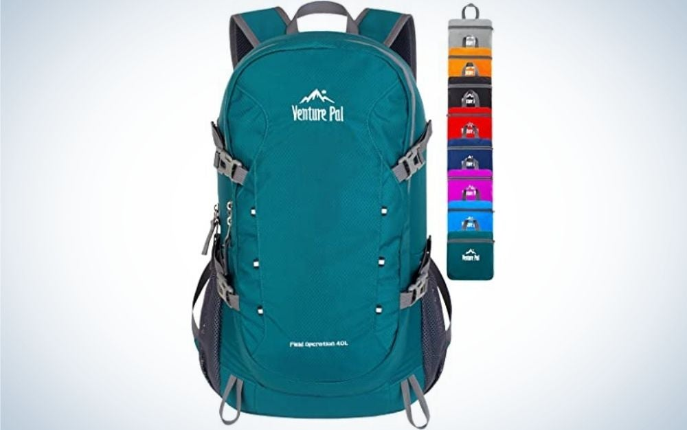 A bag that is carried on the back with two arms and in mint color and with two gray pockets on the side.