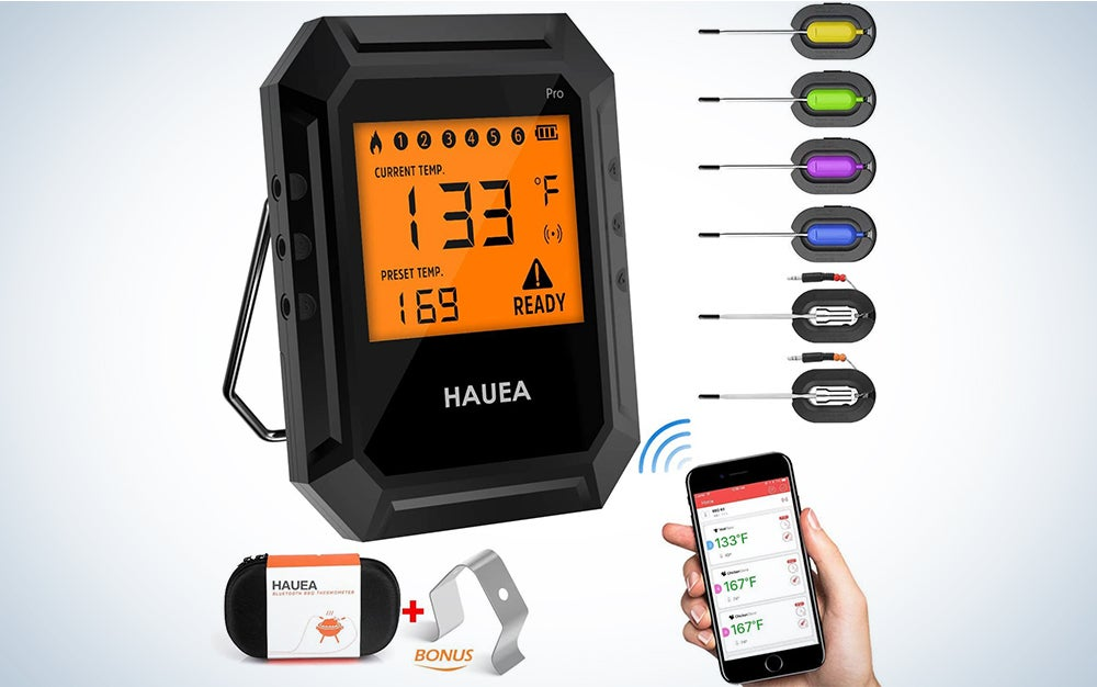 HAUEA Meat Thermometer Bluetooth, Smoking Thermometer Smart Cooking Thermometer with 6 Probes for Smoker Grilling Oven Kitchen, Support iOS & Android, Carrying Case Included