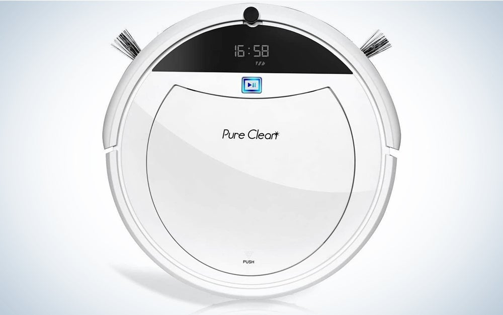 """Pure Clean Robotic Vacuum Cleaner - 1600Pa Suction - Efficient Gyroscope S-Path Scheduled Activation & Automatic Charge Dock - Ultra Thin 3.0"""" Height Cleans Carpets and Hardwood Floor"""