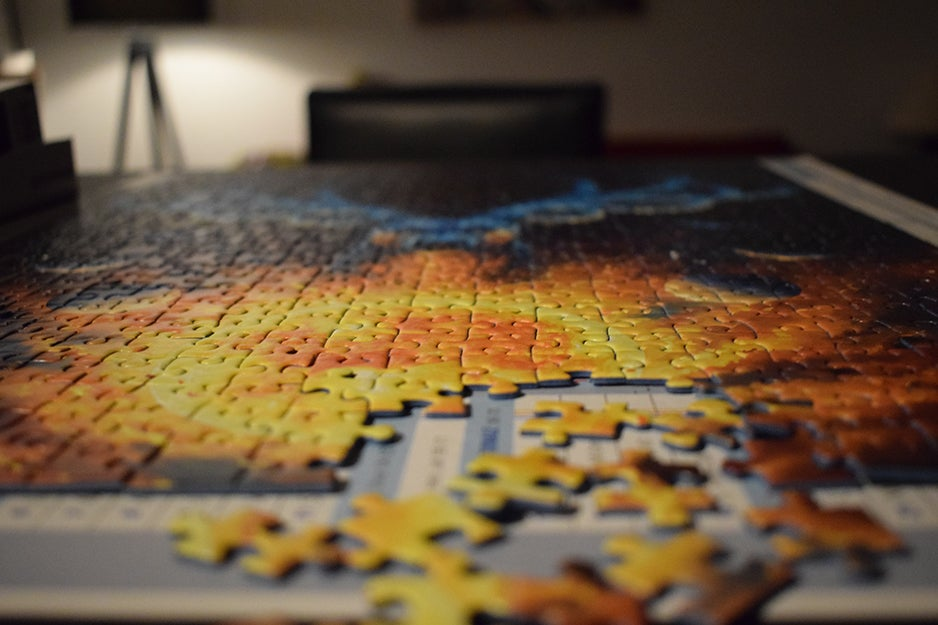jigsaw puzzle on a table
