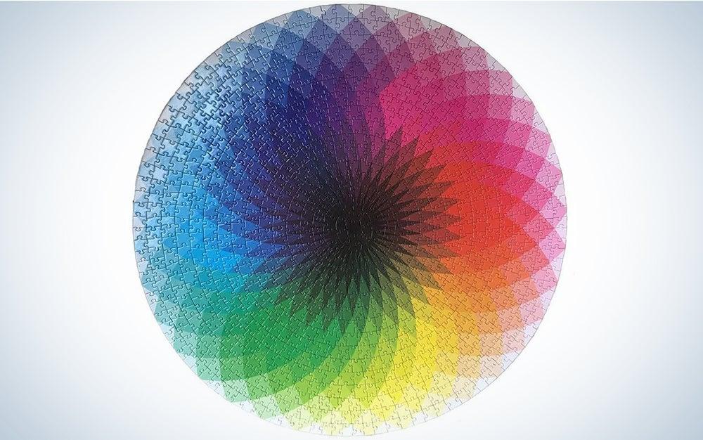 LRRH 1000 Pcs Round Jigsaw Puzzles Rainbow Palette