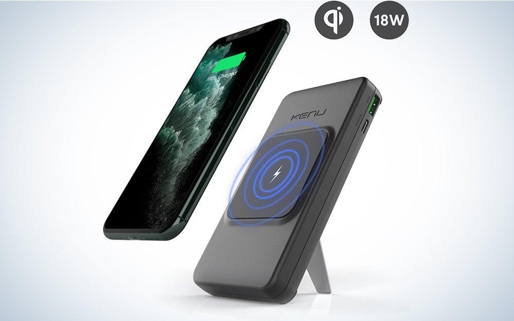 Kenu Bingebank Power Bank Wireless Charger + Kickstand   All Wireless Charging iPhones 12/11/X/8, Samsung and Pixel Phones