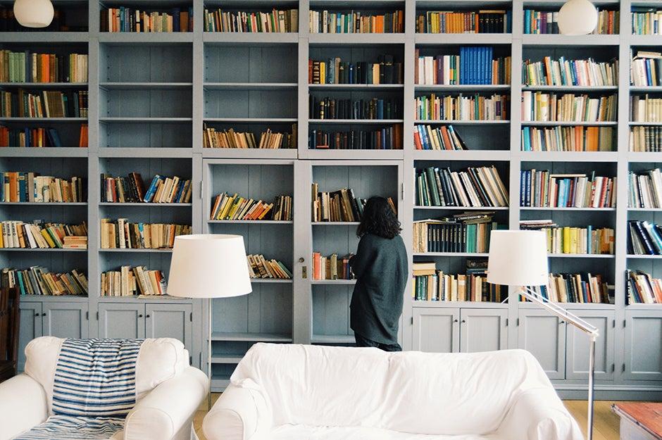 full wall of bookshelves