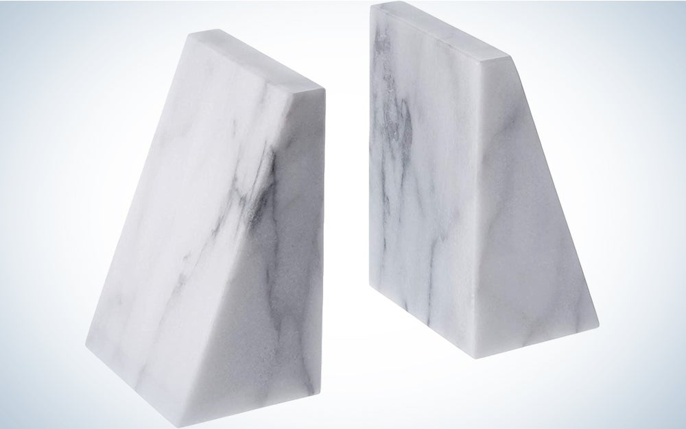 Fox Run Triangular 100 Percent Natural Polished White Marble Bookends