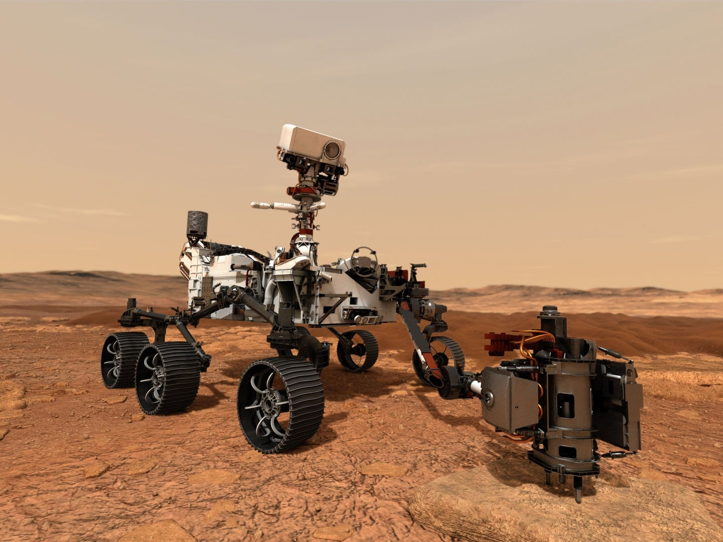 In this illustration, NASA's Mars 2020 rover uses its drill to core a rock sample on Mars.