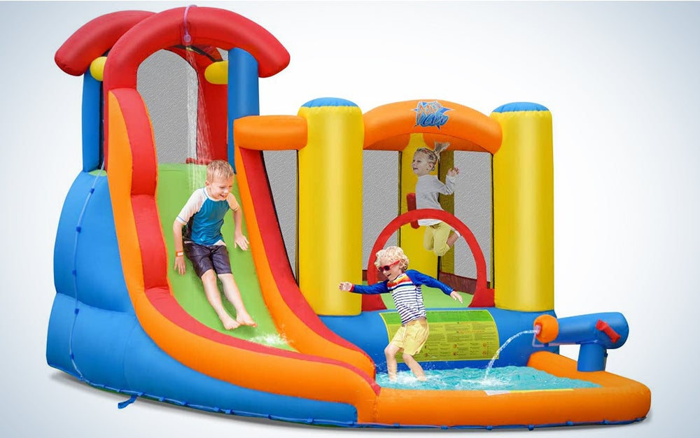 BOUNTECH Inflatable Bounce House, 6 in 1 Water Slide Jumping Park w/Splashing Pool, Climbing Wall, Water Cannon, Basketball Scoop, Including Carry Bag, Stakes, Repair Kit, Hose